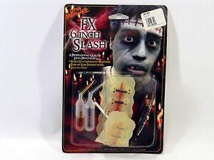 "Living Nightmare FX 6"" Slash Latex Prosthetic Wound Kit Injury Bloody Stitched"