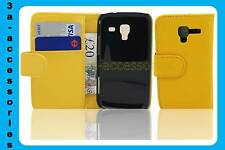 Yellow Leather Wallet Pouch Flip Case Cover For Samsung Galaxy Ace 2 GT-I8160