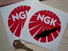 "NGK Spark Plug Motorbike STICKERS 4"" Pair Sponsor Honda Racing Rally Car Decal"
