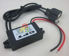 DC Waterproof Converter 12V to 5V 3A USB+mini USB Car Power Regulator Step Down