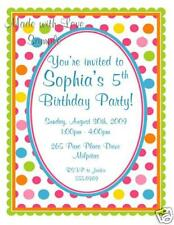 10 Printed Cute Polka Dot Birthday Party Invitations Any Age 1st 2nd 3rd 4th 5th