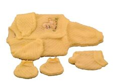 Yellow Crochet Newborn Baby set outfit dog design pants sweater booties hat