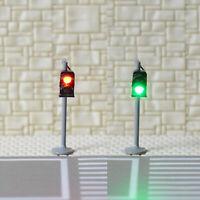 2 x traffic signal light N scale model railroad crossing walk pedestrian #GR2N