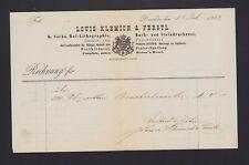 DRESDEN, Rechnung 1882, Louis Klemich & Ferstl Lithografie-Buch-Stein-Druckerei