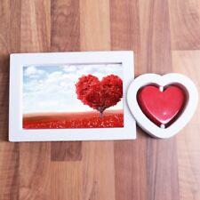 "4"" x 6"" HEART SHAPED PHOTO FRAME Valentines Day Love Black White Portrait Holder"