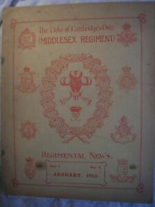 Middlesex Regiment Journal 1913 British Army Military History PWRR Queen's