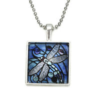 Novelty Insect Blue Dragonfly Glass Tile Spring Pendant Fashion Necklace Jewelry