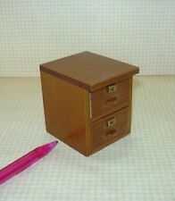 Miniature 2-Drawer File Cabinet, Walnut for DOLLHOUSE 1/12 Scale Miniatures