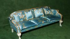 Vintage Miniature Toy Upholstered Sofa Couch Dollhouse Furniture w/4 Pillows