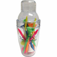Martini Golf Mini Shaker with 12 Assorted Multi Color Golf Tees