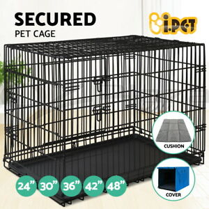 """i.Pet Dog Cage Crate Kennel Cat Collapsible Metal Cages 24""""~ 48"""" Playpen"""