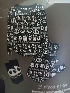 Jack Skellington Nightmare Christmas 3 Piece Pajamas PJ Set Xsmall Size 0-2 #34