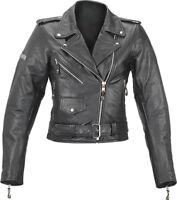 Spada Retro Cruiser Ladies Leather Motorcycle Motorbike Jacket - Black - Sale