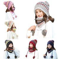 Women Winter Cotton Stretchy Thick Knit Wool Plush Bonnet Beanie Hat Scarf SetAU