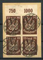 Deutsches Reich 4er Block MiNr. 265 P OR Briefstück Infla geprüft (H021