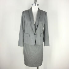Ann Taylor 12 P Gray Taupe Skirt Suit Career Cocktail Excellent