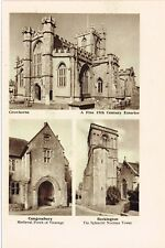 Crewkerne Congresbury & Beckington Churches Somerset 1940 Vintage Print SOM#08
