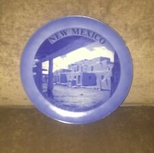 Vintage New Mexico State Souvenir Plate Blue & White 8.25 Inches Across Used