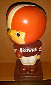 VINTAGE CLEVELAND BROWNS BOBBLEHEAD 1960s - SQUARE BASE - MADE IN JAPAN