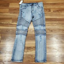 MAGE MALE Men's 38 Ripped Biker Jeans Slim Fit Straight Destroyed