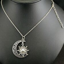 Half Moon and Sun Silver Tone Long Pendant Chain Necklace