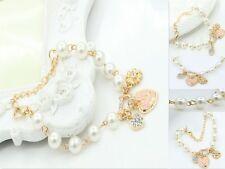 Cute Girl Roses Heart Pearl Bracelet Bangle Crystal Women Pearl Bracelet Jewelry
