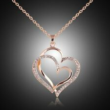 18K Rose Gold Plated Crystal Double Heart Pendant Necklace Fashion Women Jewelry
