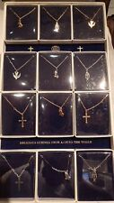 LOT OF 12 CHRISTIAN SYMBOL NECKLACES - GREAT FOR CHURCH GROUP/CHORUS w/gift box
