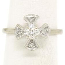 Antique 14k White Gold European Cut Diamond Solitaire Ring w/ Single Cut Accents