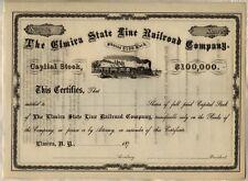 Elmira State Line Railroad Company Stock Certificate New York