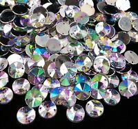50 x AB Clear Sew on Acrylic Round Diamante Crystal Gems Rhinestone 10mm #3
