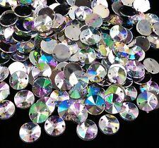 50 x AB Clear Sew on Acrylic Round Diamante Crystal Gems Rhinestone 10mm