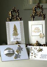 LUSSO Fatto a Mano Set di 4 Cartoline di Natale, SAHARA Sabbia e Oro, Stampin Up!