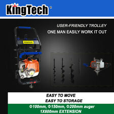 KingTech 52cc Petrol Earth Auger Post Hole Digger Fence Borer +3 Drills +Trolley