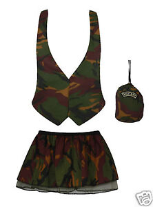 Army Girl Camo Soldier Waistcoat Pleated Tutu Pouch Fancy Dress UK Military