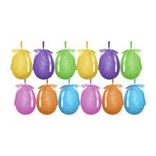 Pack of 12 Multicolour Glitter Hanging Easter Eggs - Bonnet Hat Decoration