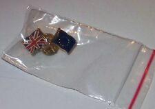 Union Jack & European Union Flag Badge c1999 EU Brexit United Kingdom