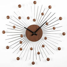 Midcentury Style Star Clock in Wood and Silver
