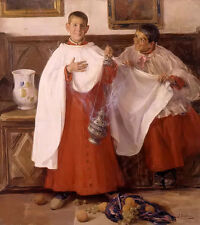 Oil painting jose benlliure y gil - monaguillos altar boys with fruits on canvas