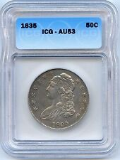 1835 50C Capped Bust Silver Half Dollar. ICG Graded AU 53. Lot #2135