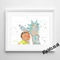 Rick and Morty Print Poster Watercolour watercolor Framed Canvas Wall Art Gift