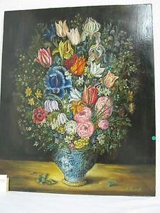 Gemälde original Öl auf Holz  Blumen  Zwickauer Maler  Kaulfuß 62 cm x 51 cm