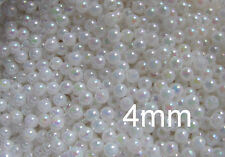 500 smooth round opaque AB beads 4mm choose colour acrylic plastic small tiny