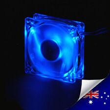 4 Blue Colour LEDs 80mm Silent Case Fan With 4 Pin Molex Connector - NEW (A001)