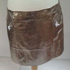 WO90 Mint Velvet Pewter Metallic Leather Zip Skirt Size 16