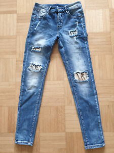 instyle DESTROYED Skinny JEANS blau SILBER PAILLETTEN Stretch Röhre XS  Jeggings