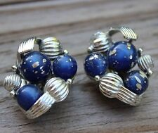 Navy Royal Blue CORO Silver Fleck Clip-On Earrings Vintage Retro Jewellery 60s