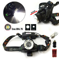 2000LM USB Rechargeable CREE XM-L T6 LED Zoomable HeadLamp Torch w/ Car Charger