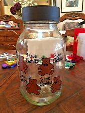 "Vintage Carlton Glass ""I Love Cookies"" Cookie Jar Teddy Bears - Great Condition"