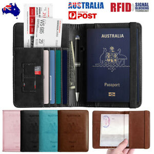Slim Leather Travel Passport Cards Wallet Holder RFID Blocking Pouch Case Cover